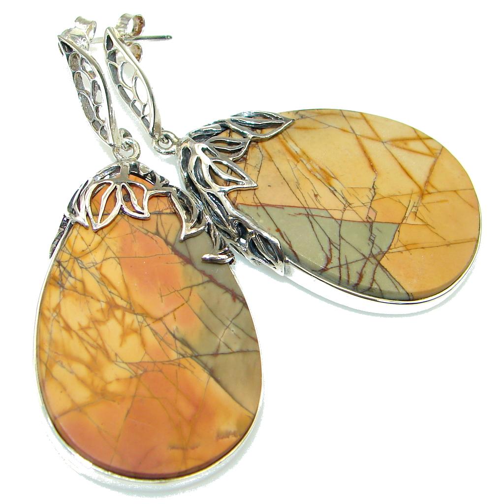 Excellent Red Creek Jasper Sterling Silver Earrings