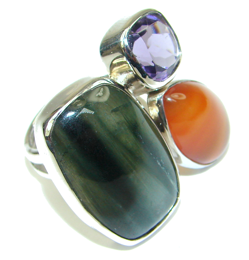 Green Secret! Moss Agate Sterling Silver ring; s. 8 adjustable