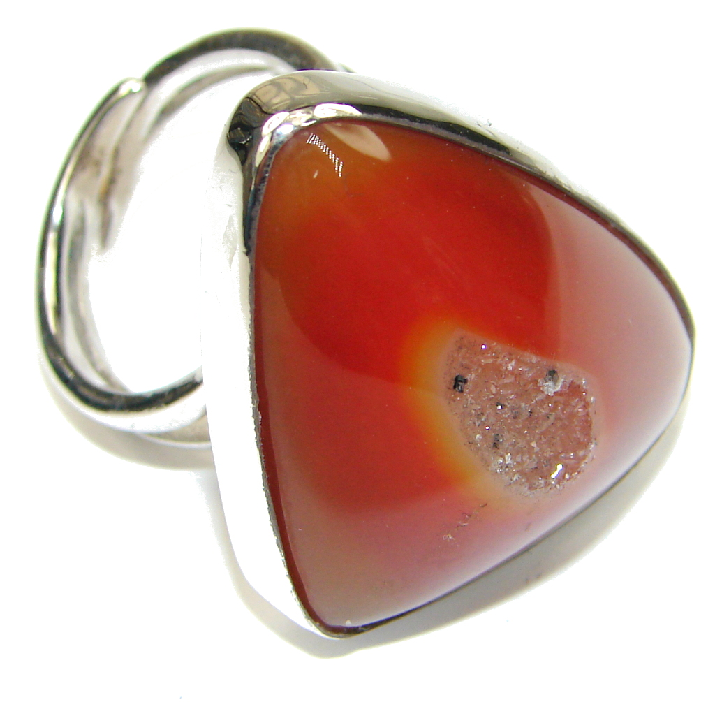 Classy Brown Agate Druzy Sterling Silver Ring s. 8 adjustable