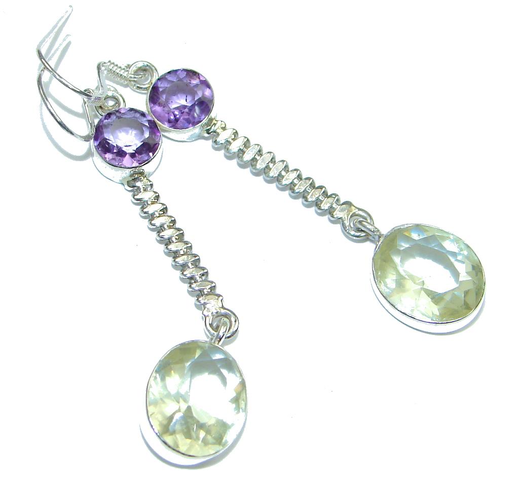 Delicate! Purple Amethyst & Citrine Sterling Silver earrings