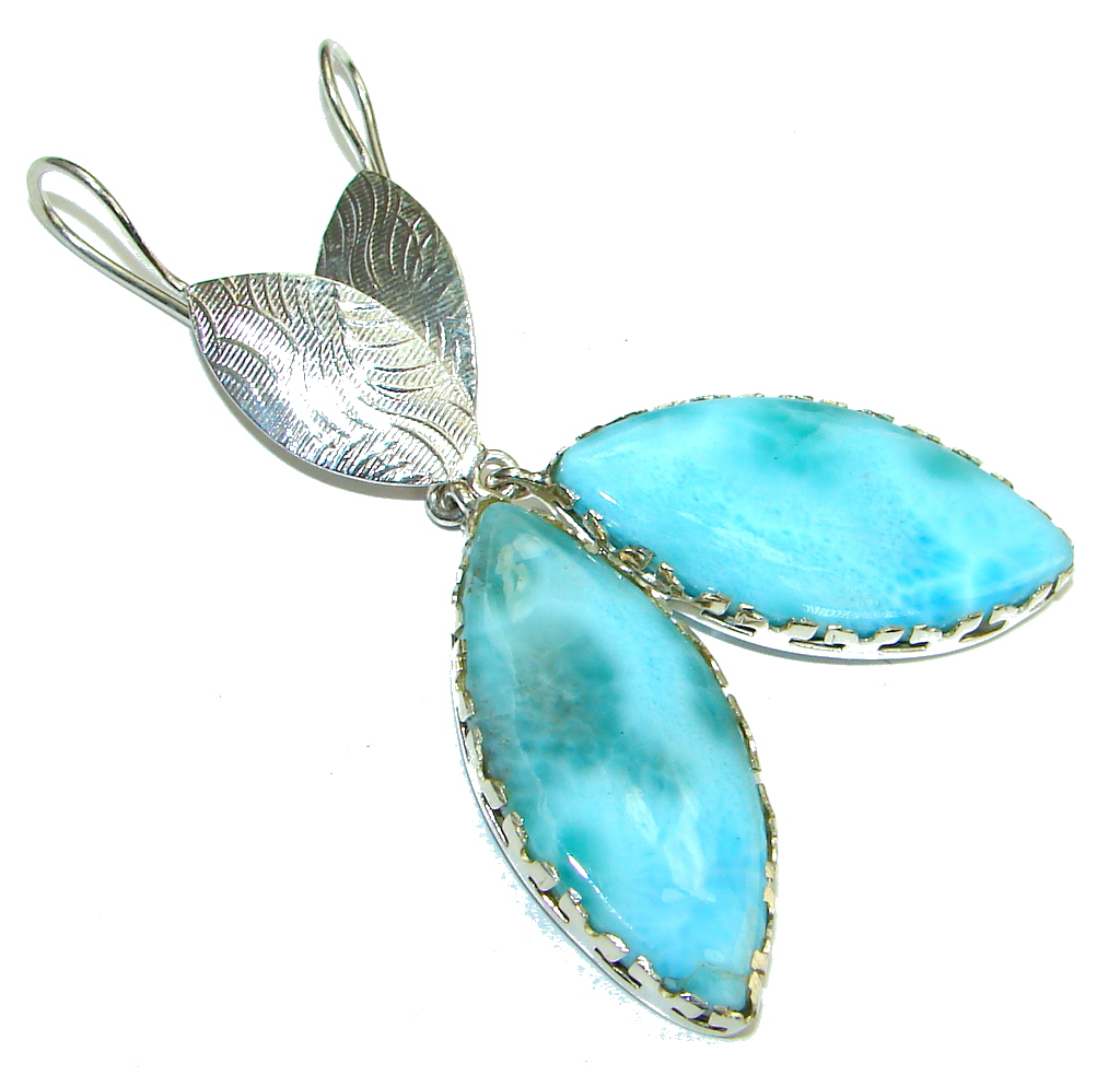 Caribbean Style! Blue Larimar Sterling Silver earrings / Long