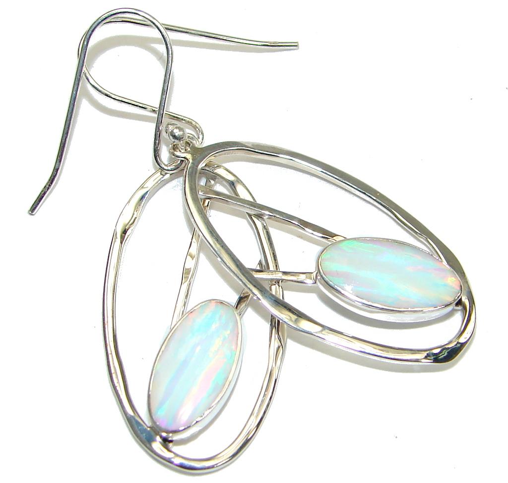Delicate! Rainbow Fire Opal Sterling Silver earrings