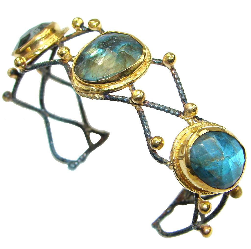 Beautiful Shimmering Blue Labradorite Sterling Silver Bracelet / Cuff