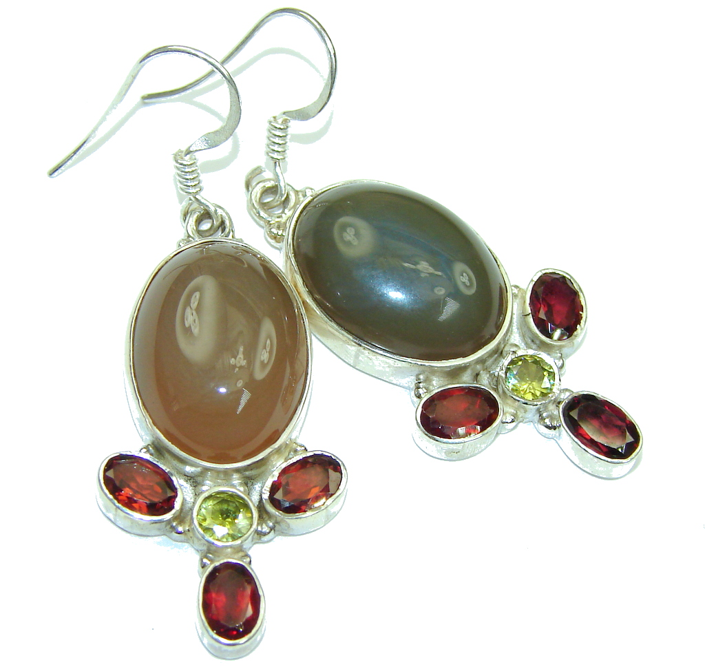 Island Dream! Brownish Agate Sterling Silver earrings