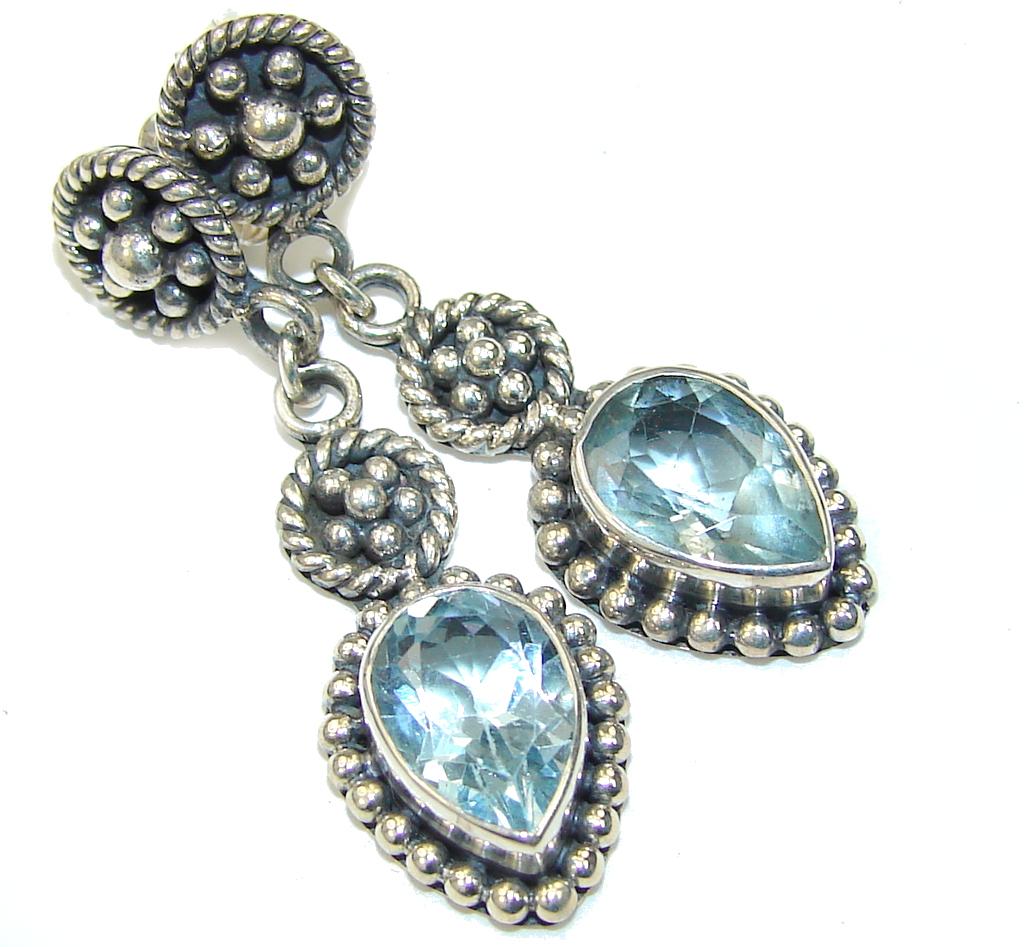 Delicate! Swiss Blue Topaz Sterling Silver earrings
