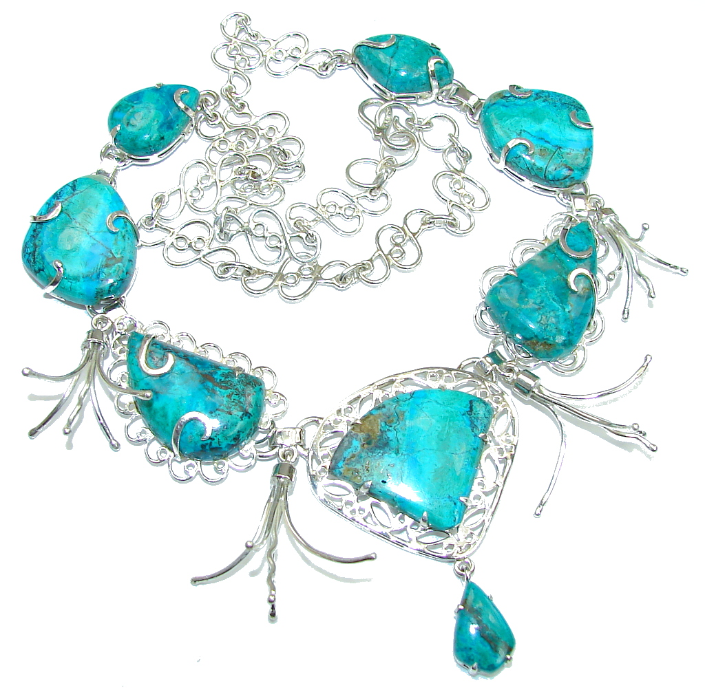 Sky Garland!! Parrot's Wings Chrysocolla Sterling Silver Necklace