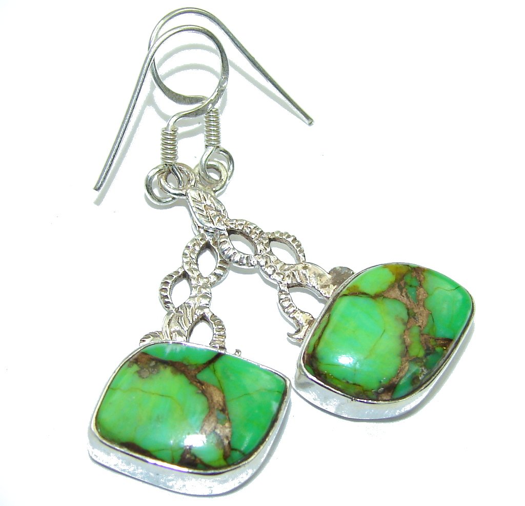 Fantastic Green Copper Turquoise Sterling Silver earrings