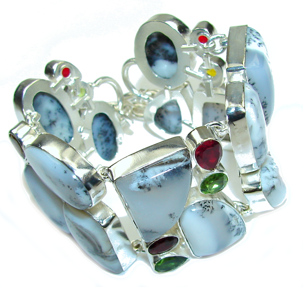 Natural Beauty White Dendritic Agate & Garnet & Peridot & Citrine Sterling Silver Bracelet