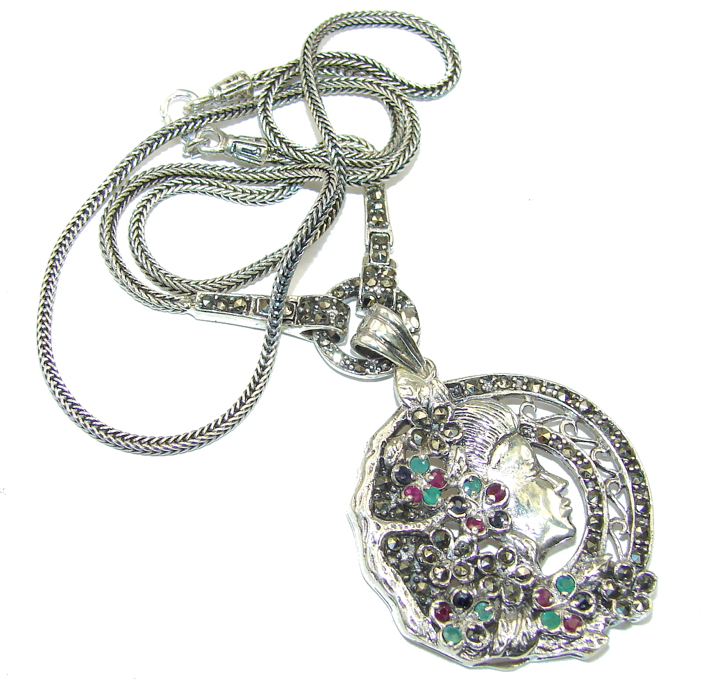 Bali Art! Marcasite & Ruby & Sapphire & Emerald Sterling Silver necklace