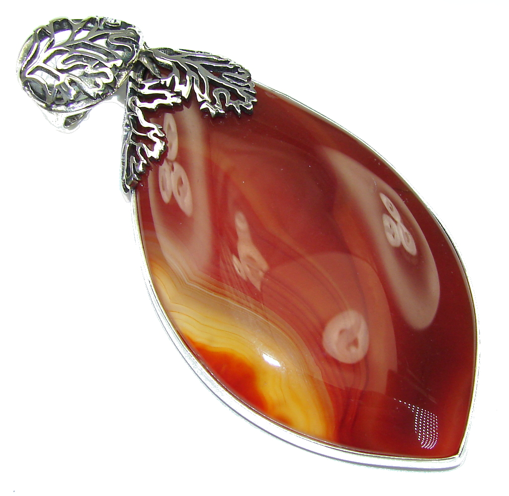Big! Perfect Design! AAA Botswana Agate Sterling Silver Pendant