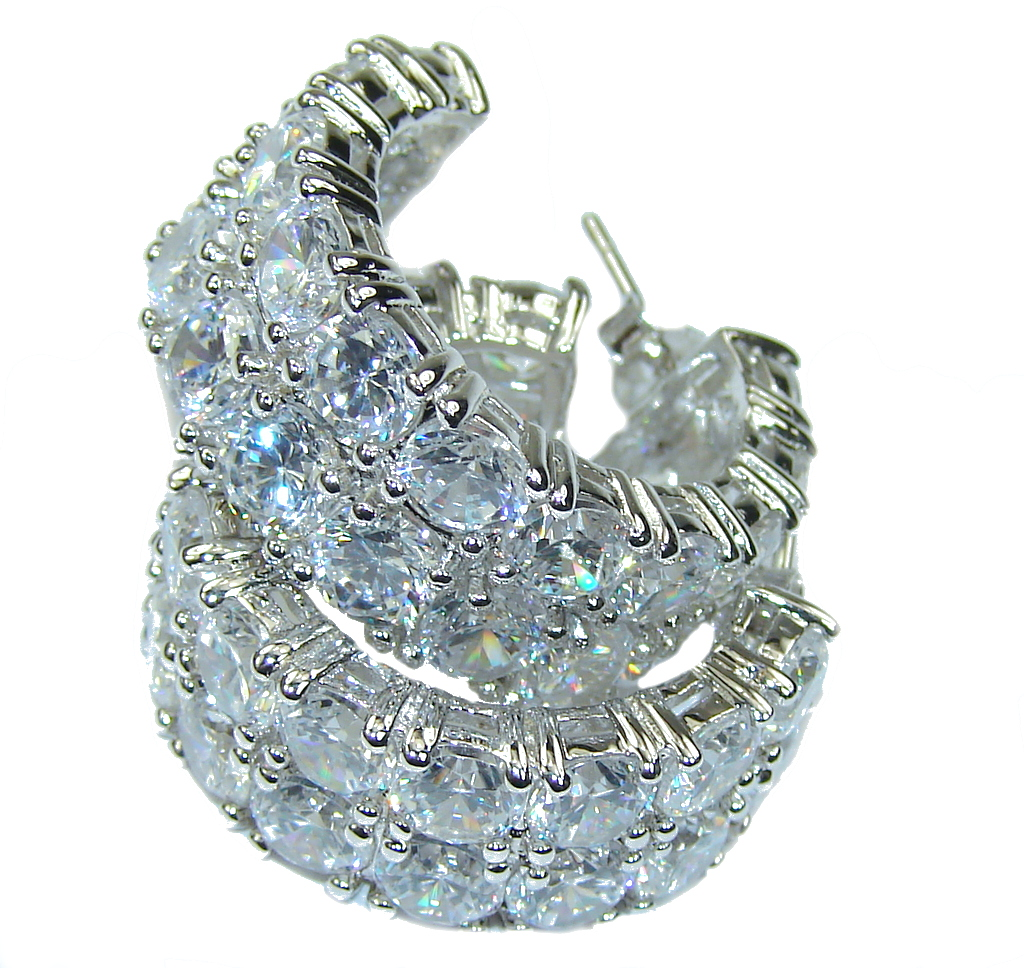 Big! Perfect Style! AAA White Topaz Sterling Silver earrings