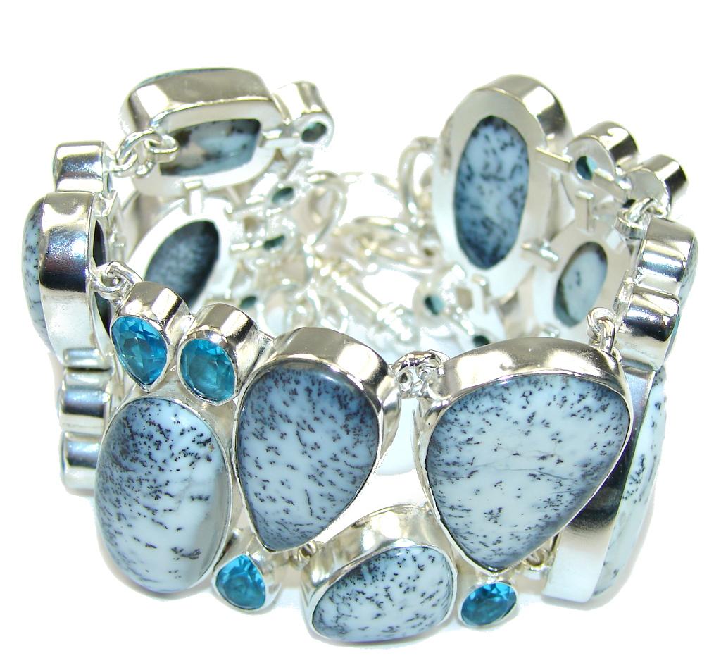 Snow Falling! White Dendritic Agate & Blue Topaz Sterling Silver Bracelet