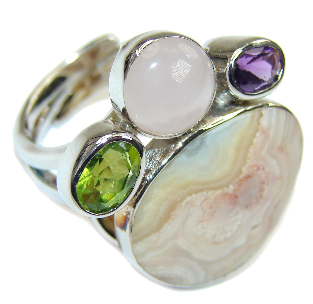 Amazing Crazy Lace Agate Sterling Silver Ring s. 7 - Adjustable