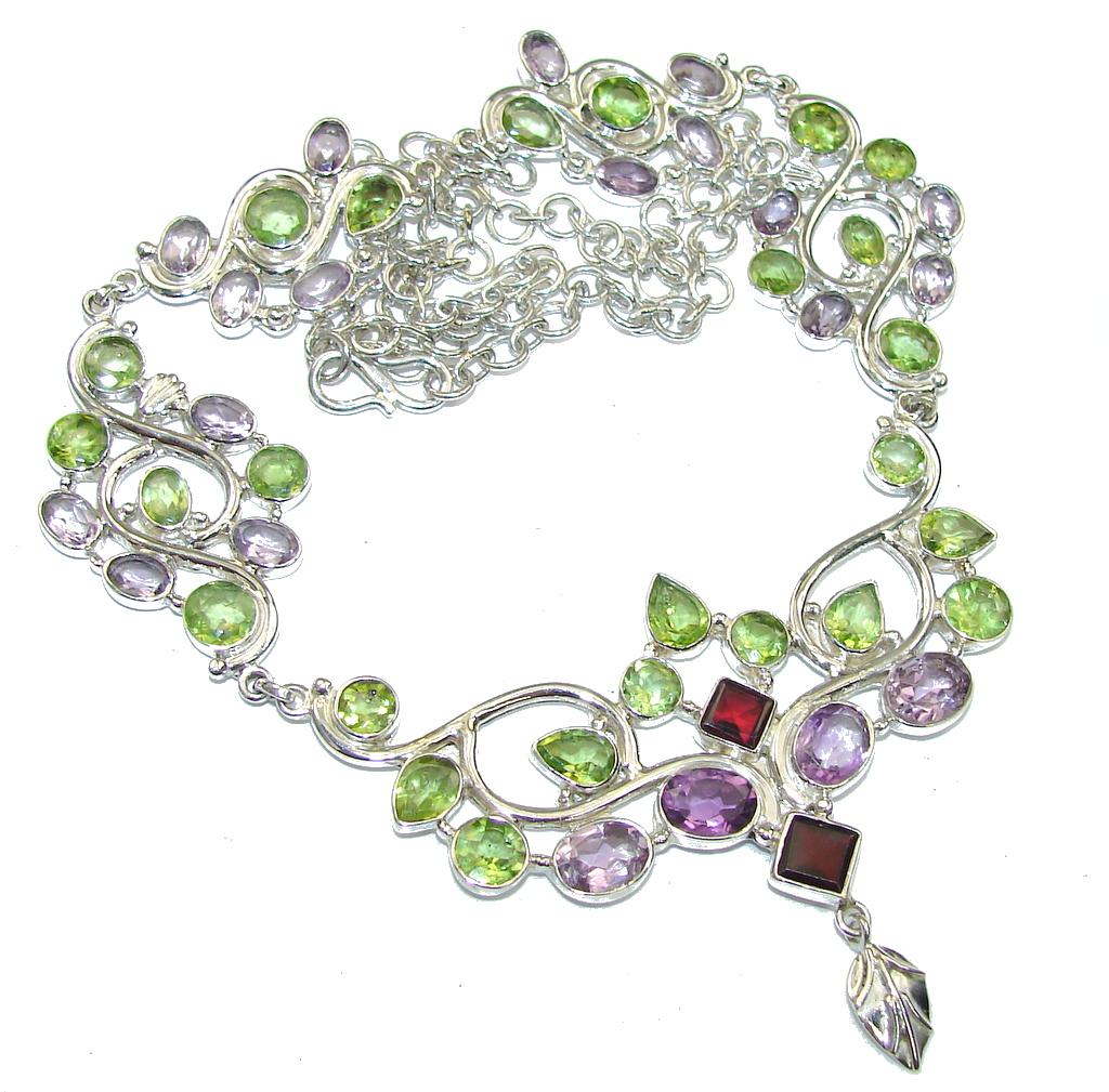 Maya Inspiration!! Purple Amethyst & Peridot & Garnet Sterling Silver necklace