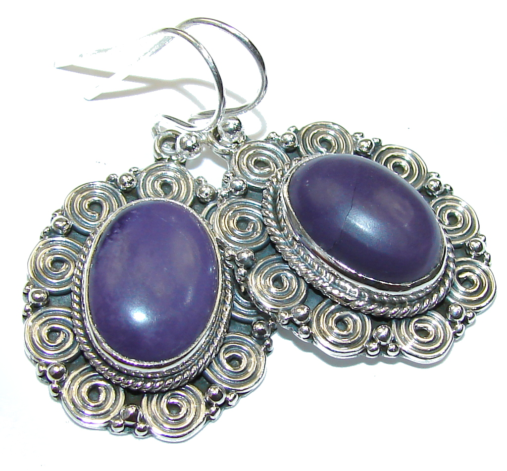 Amazing Purple Turquoise Sterling Silver earrings