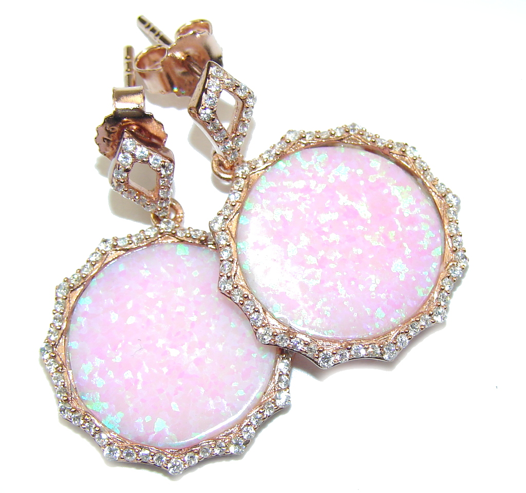 Delicate Beauty! AAA Pink Japanese Fire Opal Rose Gold plated Sterling Silver earrings