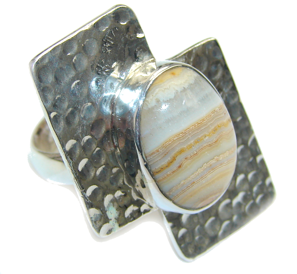 Big! Modern Concept Lace Agate Sterling Silver Ring s. 8 3/4