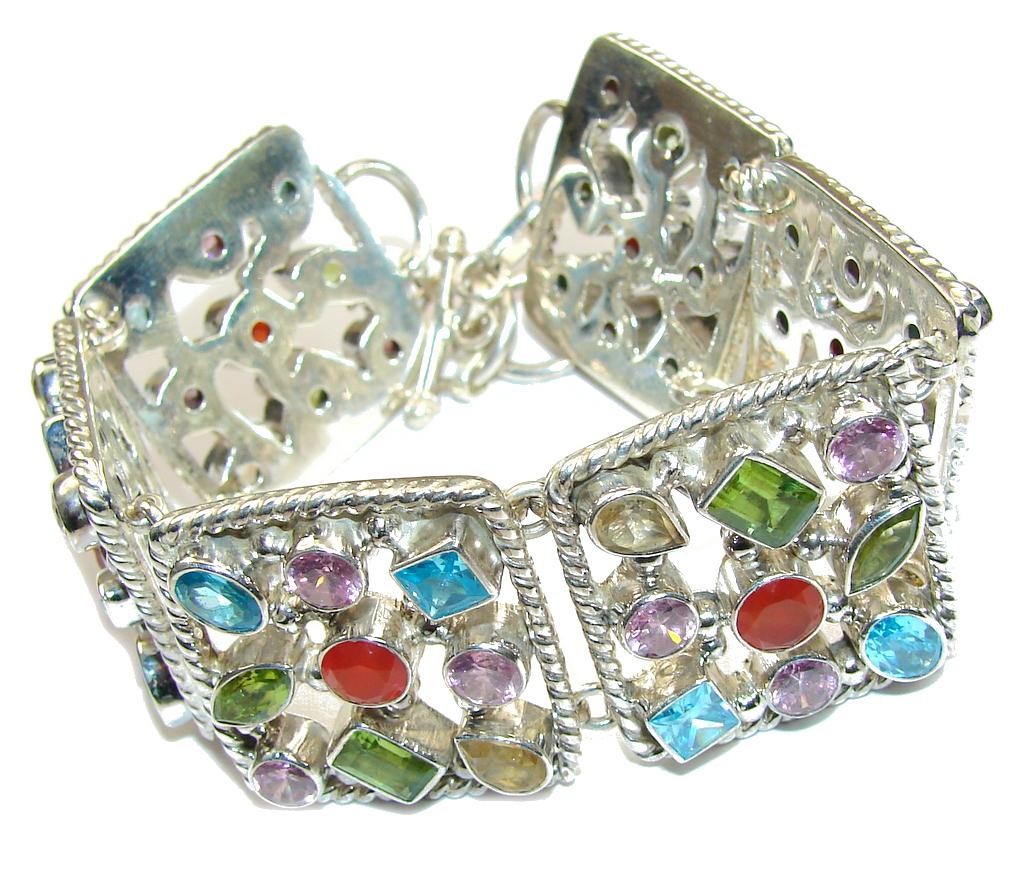 Aura Of Beauty! Multigem Sterling Silver Bracelet