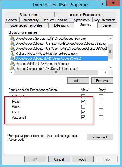 DirectAccess Certificate Auto-enrollment