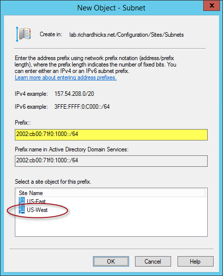 Active Directory IP Subnets for DirectAccess Clients