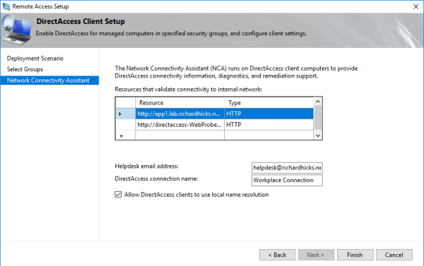 DirectAccess Network Connectivity Assistant (NCA) Configuration Guidance