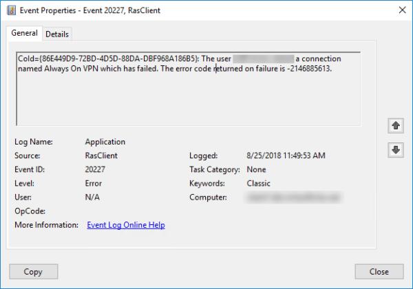 Troubleshooting Always On VPN Error Code 0x80092013