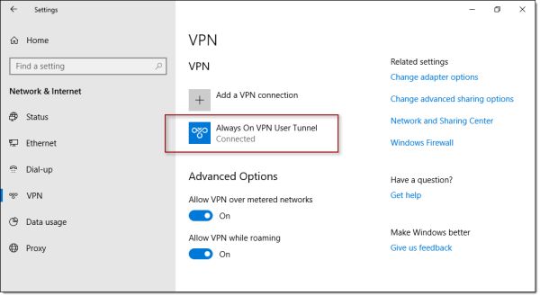 Always On VPN Device Tunnel Missing in Windows 10 UI