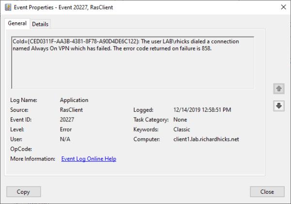 Always On VPN Error Code 858