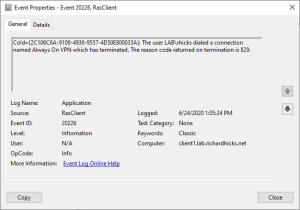 Always On VPN Bug in Windows 10 2004