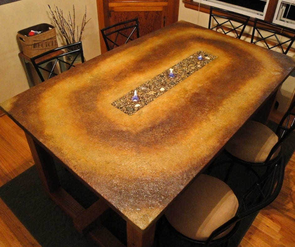 Acid Stained Concrete Fire Table