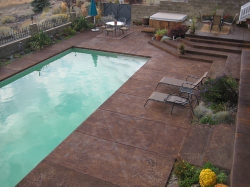 Faded Stamped Concrete Pool Deck