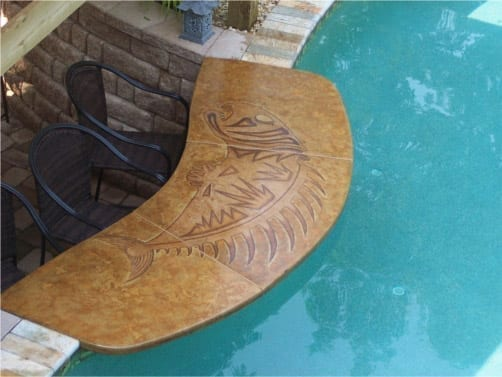 Concrete Stained Poolside Countertop