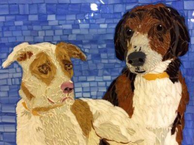 Pigmented grout to set mosaic pet portrait