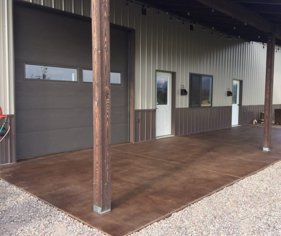 DIY Pole Barn Style Patio After Stained Concrete Floors