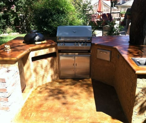 Acid Stained Outdoor Kitchen Countertop