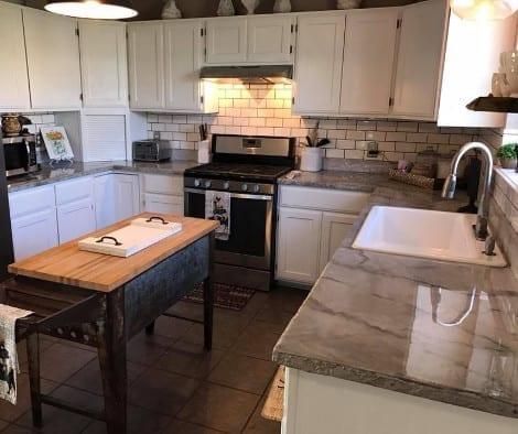Metallic Epoxy Faux Finish Kitchen Countertops