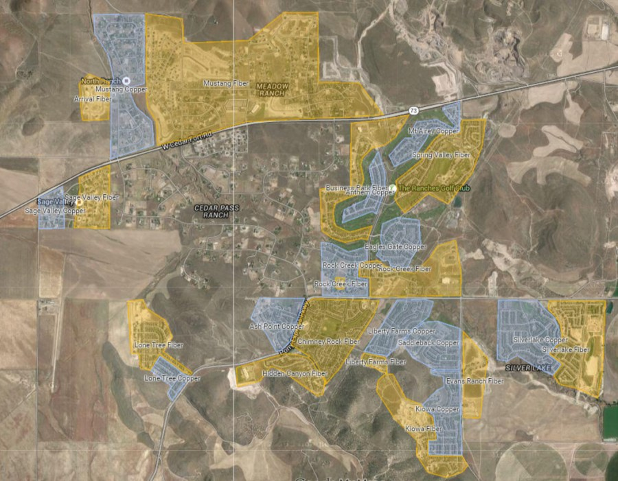 Ranches area - yellow=fiber; blue= copper