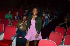 Kate Gondwe preparing to accept award for Best Emerging Student Documentary at the Tallgrass Film Festival