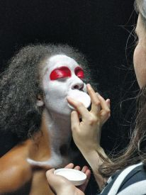 Etta Fusi transforming into The Magus in Venus in Retrograde [Photo: Tom Majerski]