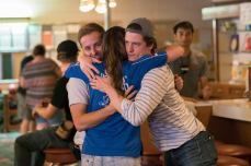 The moment after picture wrap. Kendall hugs Producers Jimmy Seargeant (left) and Shane Simmons (right)