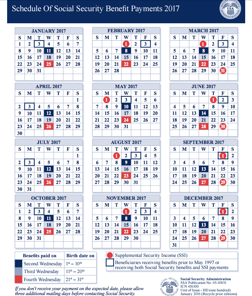 """""""Social Security Payment Schedule 2017"""""""