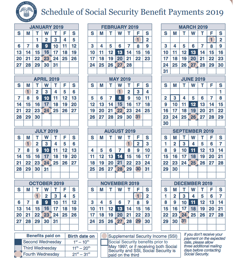 """Get the SSI Payments Calendar for 2019"""
