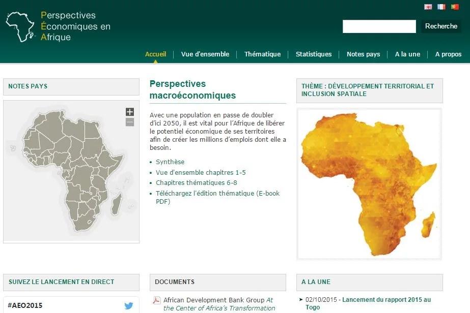 AFRICAN ECONOMIC OUTLOOK Données et des analyses complètes et comparables pour 53 économies africaines, seule source d'information sur les économies africaines qui utilise un cadre macro-économique commun à tous les pays couverts. Collaboration OCDE, BAD, UNECA, PNUD.