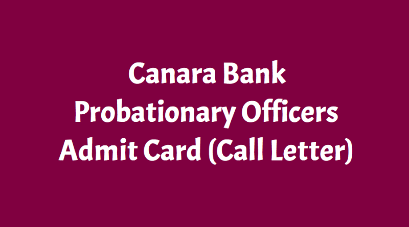 Canara Bank PO Probationary Officers Ad