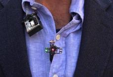Close up of the device peering out of clothing
