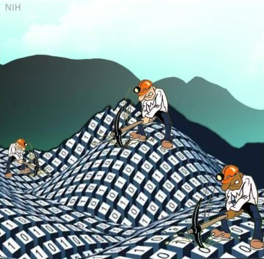 Cartoon of three men mining mountains of data