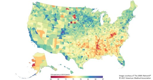 Map of life expectancies