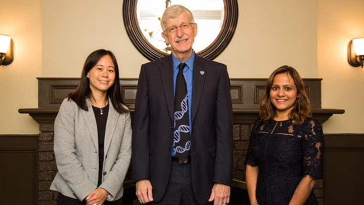 Francis Collins poses with awardees at Francis Collins Scholars Scientific Symposium