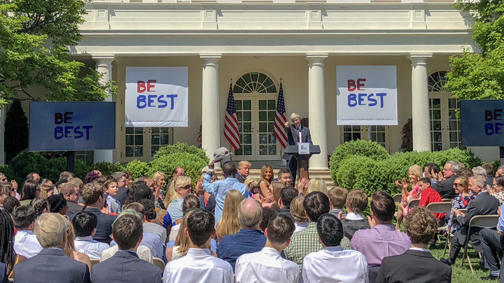 The NIH Director speaks at Be Best's First Anniversary in the White House Rose Garden