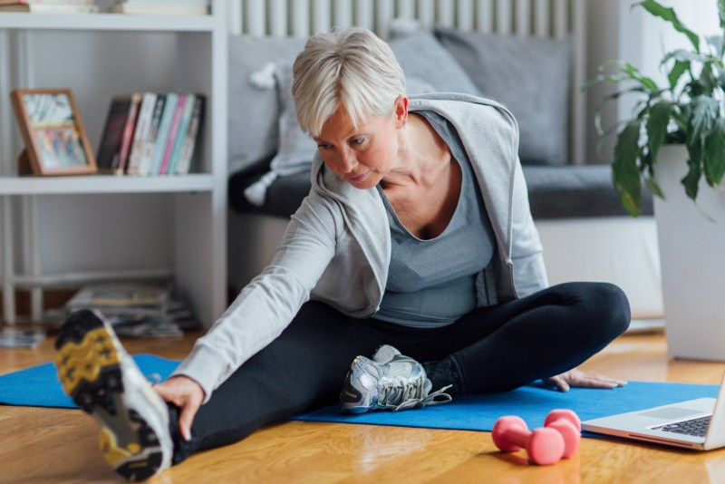 Mature woman doing moderate exercise